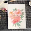 Falikép: Rózsaszín peóniák akvarell - eredeti, Képzőművészet, Illusztráció, Festmény, Akvarell, Falikép: Rózsaszín peóniák akvarell - eredeti  Méret: 15 x 21  cm   3 rózsaszín peónia virág. Szépsé..., Meska