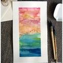 Pink és kék égbolt -  akvarell  kép (eredeti) kék-rózsaszín ég, Képzőművészet, Illusztráció, Pink és kék égbolt -  akvarell  kép (eredeti) kék-rózsaszín ég  Kék-arany-pink nyári égbolt eredeti ..., Meska