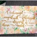 Akvarell virágok és idézet -  Barack és rózsaszín virágok és levélkék akvarell kép (eredeti), Képzőművészet, Esküvő, Illusztráció, Akvarell virágok és idézet -  Barack és rózsaszín virágok és levélkék akvarell kép (eredeti)  Paszte..., Meska