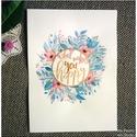 Akvarell virágok és idézet -  Rózsaszín virágok és kék levélkék akvarell kép (eredeti), Képzőművészet, Illusztráció, Akvarell virágok és idézet -  Rózsaszín virágok és kék levélkék akvarell kép (eredeti)  Pasztell vir..., Meska