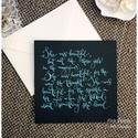 """Esküvői idézet kalligráfia (angol) kék betűkkel fekete papíron , Esküvő, Dekoráció, Esküvői idézet kalligráfia (angol) kék betűkkel fekete papíron    """"She was beautiful, but not like t..., Meska"""