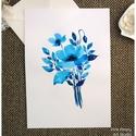 Pipacs virágok kék színekben -  akvarell  kép (eredeti), Képzőművészet, Illusztráció, Pipacs virágok kék színekben -  akvarell  kép (eredeti)  Kék virágos-levélkés eredeti akvarell festm..., Meska