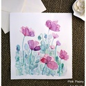 Pipacs virágok lila színekben -  akvarell  kép (eredeti), Képzőművészet, Illusztráció, Festészet, Pipacs virágok lila színekben -  akvarell  kép (eredeti)  Kék virágos-levélkés eredeti akvarell fes..., Meska