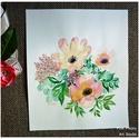 Akvarell virágok -  akvarell  kép (eredeti), Képzőművészet, Illusztráció, Akvarell virágok -  akvarell  kép (eredeti)  Sárga és rózsaszín virágos-levélkés eredeti akvarell fe..., Meska