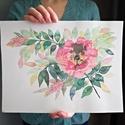 Vadrózsa ágacska -akvarell festményem 30x40cm, horizontális akvarell kép (eredeti), Dekoráció, Képzőművészet, Otthon, lakberendezés, Csokor, Illusztráció, Festészet, Fotó, grafika, rajz, illusztráció, Vadrózsa ágacska -akvarell festményem 30x40cm, horizontális akvarell kép (eredeti)  Méret: 30 x 40 ..., Meska