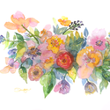 """Akvarell Vadvirág csokor - art print (akvarell festményem alapján), Képzőművészet, Otthon, lakberendezés, Festmény, Akvarell, Akvarell Vadvirág csokor - art print (akvarell festményem alapján) """"Vadvirág csokor"""" nyári vadvirágo..., Meska"""
