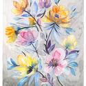 """Akvarell Pompás virágok - art print (akvarell festményem alapján), Képzőművészet, Otthon, lakberendezés, Festmény, Akvarell, Akvarell Pompás virágok - art print (akvarell festményem alapján)  """"Pompás virágok"""" sárga, rózsaszín..., Meska"""