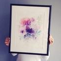Falikép: Lila Peóniák akvarell virágok és levélkék - art print / virágos poszter / kép, poszter A4es méret, Otthon, lakberendezés, Képzőművészet, Falikép, Falikép: Lila Peóniák akvarell virágok és levélkék - art print / virágos poszter / kép, poszter A4es..., Meska