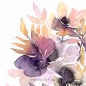 Falikép: Nyári mezőn - Akvarell virágok és levélkék - rózsaszín és lila virágos poszter, art print, Képzőművészet, Otthon, lakberendezés, Festmény, Akvarell, Falikép: Nyári mezőn - Akvarell virágok és levélkék - rózsaszín és lila virágos poszter, art print  ..., Meska