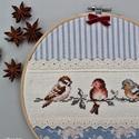 Hímzett madárkás kép, Dekoráció, Otthon, lakberendezés, Kép, Falikép, Hímzőkeretbe foglalt madárkás képecske, melyet Tilda designer szépséges anyagjából és keresztszemes ..., Meska