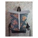 Serin virágos hátizsák 2., Táska, Hátizsák, Egyéni virágos hátizsák. A táska külseje elől egy mintás anyag .,hátul szürke vászon.A külső anyag a..., Meska