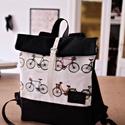 Serin bicikli mintás hátizsák (fekete) , Táska, Hátizsák, Egyéni hátizsák. A táska vészon,  alatta pedig cordura található, ami a táskának tartást ad illetve ..., Meska