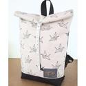 Serin origami mintás hátizsák (mama koll.), Egyéni hátizsák. A táska külseje vászon.Alul...