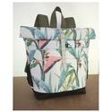 Serin elől zsebes flamingo hátizsák (MAMA) , Táska, Hátizsák, A táska külseje elől egy meseszép flamingo mintás vászon  két nagy zsebbel. A külső anyag alatta ped..., Meska
