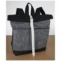 Serin szürke hátizsák , Táska, Hátizsák, Egyéni szürke elől zsebes hátizsák, elől zsebekkel. A táska külseje szép szürke ezüstös tweed szövet..., Meska