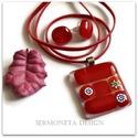 MILLEFIORI  piros üvegékszer, ékszerszett, medál. Születésnapi, névnapi ajándék, Ékszer, Nyaklánc, Medál, Ékszerszett, Ékszerkészítés, Üvegművészet, A nyaklánc  piros üveg medálját fusing technikával készítettem, a transzparens alapot Moretti üvegb..., Meska
