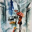 Délutáni séta Bíró Richárd eredeti akvarell festmény!, Képzőművészet, Festmény, Festészet, Hangulatos esős utcakép otthoni dísznek vagy ajándéknak remek választás.  18x25 cm-es akvarell fest..., Meska