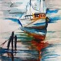 Halászhajó. Bíró Richárd eredeti akvarell festmény!, Képzőművészet, Festmény, Festészet, Nyugalmat árasztó tájkép amely otthoni dísznek vagy ajándéknak remek választás.  18x25 cm-es akvare..., Meska