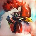 Az udvar királya. Bíró Richárd akvarell festménye!, Képzőművészet, Festmény, Akvarell, Festészet, Kakast ábrázoló akvarell festmény   Mérete 25x35 cm-es nagy méretű  Anyaga vastag akvarellpapír.  B..., Meska