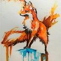 Róka, Képzőművészet, Festmény, Akvarell festmény jó minőségű papíron , Meska