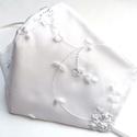Alkalmi, elegáns, esküvői maszk - Fehér hímzett - 3 rétegű , Megálmodtam és elkészítettem :) Elegáns, kül...