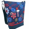 Virágos vízálló női nagy táska - Kék, piros és fehér szinekkel, Megálmodtam és elkészítettem :) Remélem neked...