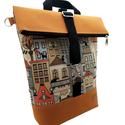 Városi mustár Roll Top Hátitáska / Válltáska / Keresztpántos táska 3in1 - Házikós, Megálmodtam és elkészítettem :) Remélem neked...