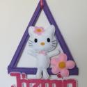 Hello kitty cica névtábla, Baba-mama-gyerek, Gyerekszoba, Baba falikép, Kata kérésére készült Hello kitty Cica, de kérésre másnak is szívesen elkészítem.  Bármi..., Meska