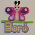 Pillangós névtábla, Baba-mama-gyerek, Dekoráció, Gyerekszoba, Baba falikép, Varrás, Mérete: 19x18 cm Kérhető más névvel is természetesen :), Meska