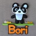 Panda névtábla, Dekoráció, Baba-mama-gyerek, Dísz, Gyerekszoba, Mérete: 19x20 cm A név betűit más színben is el tudom készíteni :), Meska