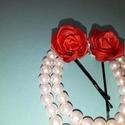 vörös rózsás hullámcsat, Esküvő, Hajdísz, ruhadísz, Rózsadíszes hullámcsatt, avagy egy virág mindig fel tudja dobni a frizurádat...  Ha szép konty..., Meska