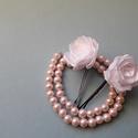 Fehér rózsás hullámcsat, Esküvő, Hajdísz, ruhadísz, Fehér rózsás hullámcsat   Tökéletes kontyokba esküvőkre, szalagavatóra, és elegáns esemé..., Meska