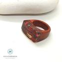 """Afrikai rózsafa gyűrű """"Vörös korall"""", Ékszer, Gyűrű, Statement gyűrű, Ékszerkészítés, Famegmunkálás, Extra afrikai rózsafából kézzel készült gyűrű a tengervízben megcsillanó korallok világát mintázza...., Meska"""