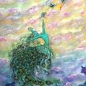 Akció -  Pávaszemkisasszony vászon nyomat 32x42 cm szegély nélkül, Képzőművészet, Festmény, Festmény vegyes technika, Illusztráció, Fotó, grafika, rajz, illusztráció, Festészet, A festmény a végtelen szabadság, lebegés, újjászületés, megújulás, szárnyalás, beteljesedés, boldog..., Meska