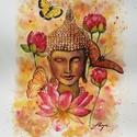 Akció -  Buddha-boldogság című nyomat  30x40 cm plusz szegély, Képzőművészet, Festmény, Festmény vegyes technika, Illusztráció, Festészet, Fotó, grafika, rajz, illusztráció, A Buddha-boldogság témájú festményem az álmodozás, beteljesedés, boldogság, színes álmok, harmónia,..., Meska