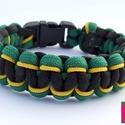 """""""Jamaica II."""" paracord karkötő, Ékszer, Férfiaknak, Karkötő, Ékszer, kiegészítő, Csomózás, Ékszerkészítés, Fekete és zöld színű paracord zsinórból, ill. sárga színű microcord zsinórból makramé csomózással k..., Meska"""