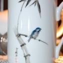 kézzel festett porcelán bögre, Baba-mama-gyerek, Férfiaknak, Konyhafelszerelés, Bögre, csésze, Porcelán bögre, általam kézzel festett, bambusz  és madár motívumokkal, porcelánfesték felv..., Meska