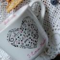 """kézzel festett porcelán bögre, Baba-mama-gyerek, Konyhafelszerelés, Bögre, csésze, Festett tárgyak, Kézzel festett porcelán bögre, """"zenei"""" díszítménnyel.   3 dl-es, mag.:7 cm, átm: 9 cm. , Meska"""