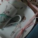 kézzel festett porcelán szett, Baba-mama-gyerek, Konyhafelszerelés, Bögre, csésze, Festett tárgyak, Kézzel festett porcelán szett, balerina mintával díszített.   Különböző színeken kérhető.   A bögre..., Meska