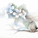 Madárfióka, Dekoráció, Otthon, lakberendezés, Képzőművészet, Kép, Festészet, Fotó, grafika, rajz, illusztráció, Kedves, egyedi vegyes technikával készült kép egy madárfiókáról.  Remek ajándék minden korosztályna..., Meska