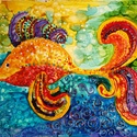 Szerencse-halacska, Dekoráció, Képzőművészet, Kép, Napi festmény, kép, Festészet, Vegyes technikával készült kép.  Gyerekek, felnőtteknek egyaránt remek ajándék. Fiatalos, bohókás s..., Meska