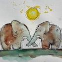 Elefántszerelem, Dekoráció, Baba-mama-gyerek, Otthon, lakberendezés, Falikép, Fotó, grafika, rajz, illusztráció, NEM PRINT! Kedves, egyedi, vegyes technikával készült kép elefántokról.   Remek ajándék minden koro..., Meska