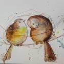 Lézozió, Dekoráció, Baba-mama-gyerek, Otthon, lakberendezés, Falikép, Fotó, grafika, rajz, illusztráció, NEM PRINT!  Kedves, egyedi, vegyes technikával készült kép madarakról.  A címe francia szójátékból ..., Meska