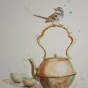 Teaszertartás, Dekoráció, Baba-mama-gyerek, Otthon, lakberendezés, Falikép, Fotó, grafika, rajz, illusztráció, NEM PRINT! Mottó: lábam előtt ült egy madár, majd felröppent - Nehezebb lettem./FÁ/  Kedves, egyedi..., Meska