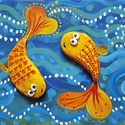 Aranyhalacskák fa táblán, Dekoráció, Otthon, lakberendezés, Kép, Falikép, Festészet, Szerencsét hozó aranyhalak Halaknak és Horgászoknak. Azonnal falra akasztható. Fa táblára készült v..., Meska