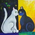 Egy cica, két cica..., Baba-mama-gyerek, Otthon, lakberendezés, Falikép, Gyerekszoba, Fotó, grafika, rajz, illusztráció, Festészet, Cicakedvelők ideális ajándéka. Fa táblára készült kép. Azonnal falra teheted vagy be is keretezteth..., Meska