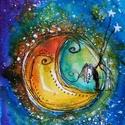 Csillagokat reptető, Baba-mama-gyerek, Dekoráció, Képzőművészet, Kép, Festészet, Mindenmás, Egyedi alkotás, tussal és vízfestékkel készült. Felnőtteknek és gyerekeknek egyaránt kedves ajándék..., Meska