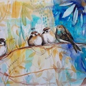 Verebek, Dekoráció, Képzőművészet, Kép, Illusztráció, NEM PRINT! Szeretem a madarakat, a verebek különösen kedvesek. Ha megnézed az alkotásaim, szám..., Meska