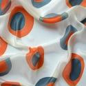 Retro mintás pöttyös selyemkendő, Szürke és narancs igazi 70-es évek színei. De ...