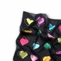 Színes Szerelem  selyemkendő, Ruha, divat, cipő, Kendő, sál, sapka, kesztyű, Kendő, A kendő mintája egyszerre modern és romantikus. A fekete alapon fehér kontúrral körülrajzolt színes ..., Meska